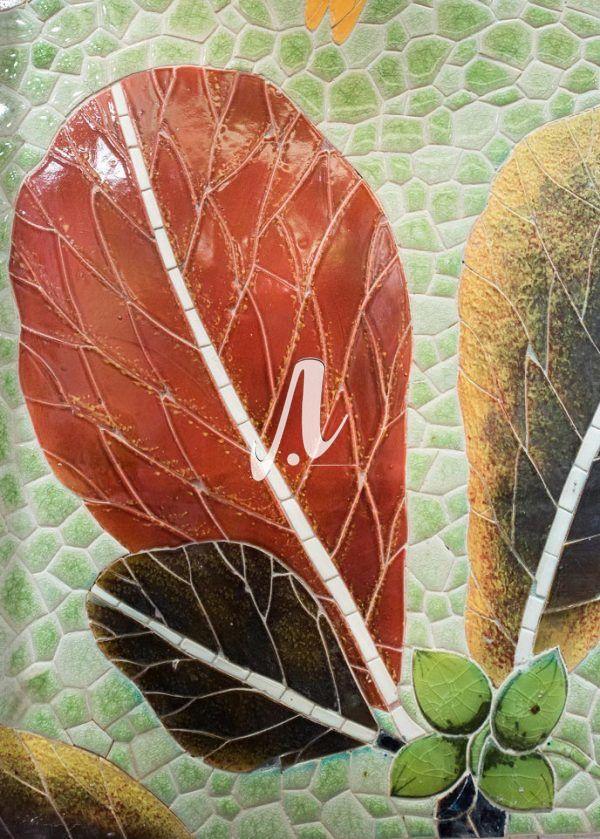 Tranh mosaic gốm Lá bàng thu