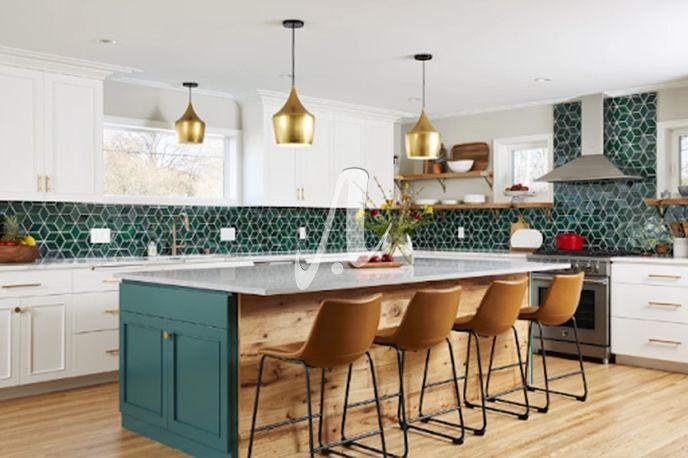 Nổi bật với không gian trắng tinh khiết là tông gạch mosaic xanh rêu với thiết kế hình thoi