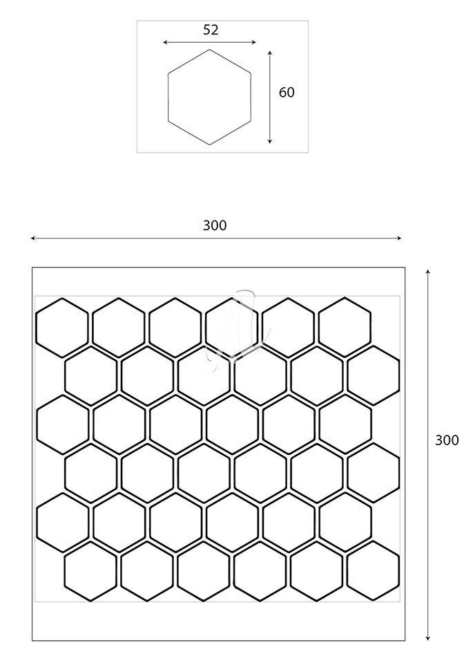 Thông số gạch mosaic lục giác cân nhỏ