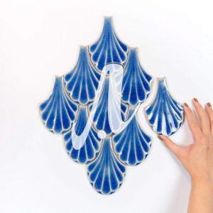Gạch dẻ quạt 3D 9x14 xanh coban