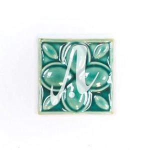 Gạch điểm 3D 10x10 hoa 4 cánh xanh lục bảo